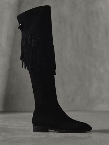 WINTER CAPSULE SPLIT SUEDE BOOTS WITH FRINGING