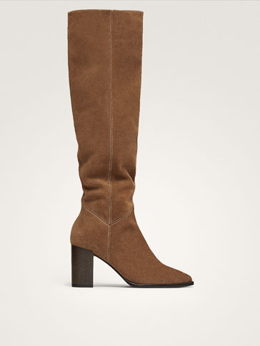 TAN SPLIT SUEDE LEATHER HIGH HEEL BOOTS