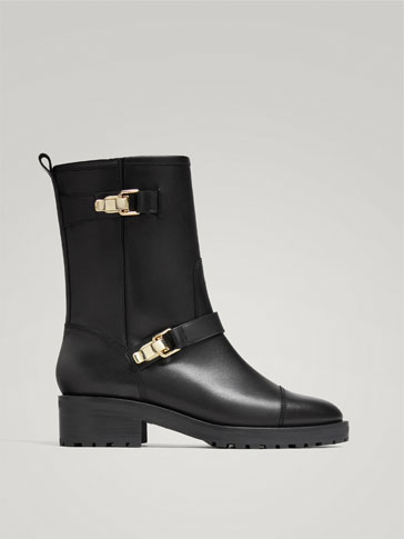 BLACK LEATHER ANKLE BOOTS WITH BUCKLES