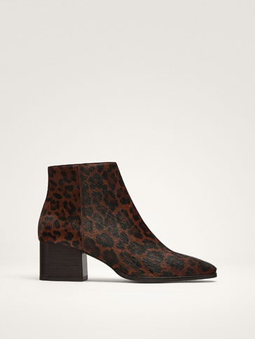 ANIMAL PRINT LEATHER ANKLE BOOTS
