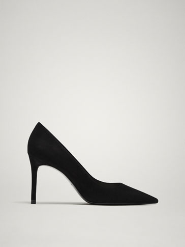 BLACK SUEDE HIGH HEEL COURT SHOES