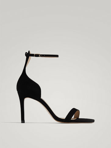 BLACK LEATHER HIGH-HEEL SANDALS