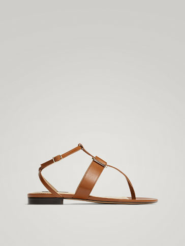 TAN LEATHER BUCKLED SANDALS