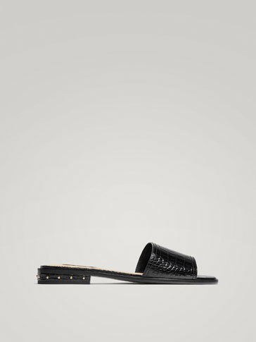 BLACK MOCK CROC LEATHER SANDALS