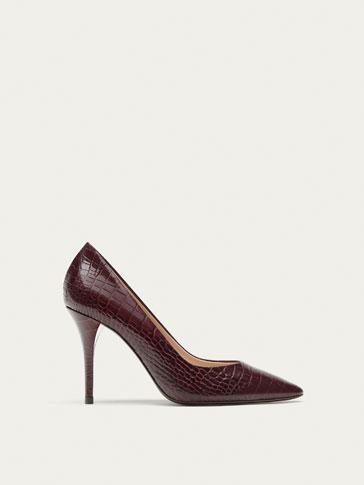 BURGUNDY LEATHER HIGH HEEL COURT SHOES WITH EMBOSSED ANIMAL PRINT