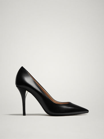 BLACK LEATHER HIGH HEEL COURT SHOES