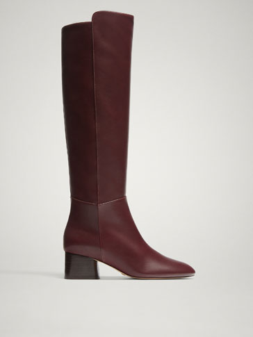 BURGUNDY NAPPA LEATHER BOOTS