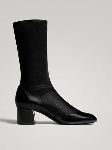 BLACK NAPPA LEATHER STRETCH ANKLE BOOTS