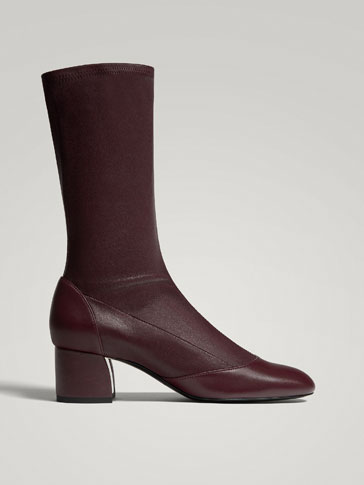 BURGUNDY NAPPA LEATHER STRETCH ANKLE BOOTS