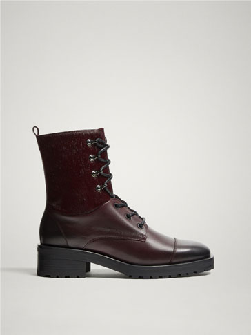 LINED BURGUNDY LEATHER ANKLE BOOTS