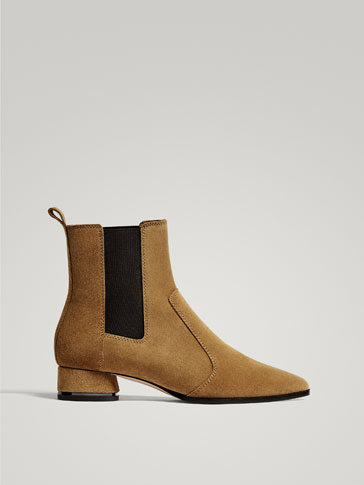 TAN SPLIT SUEDE LEATHER STRETCH ANKLE BOOTS