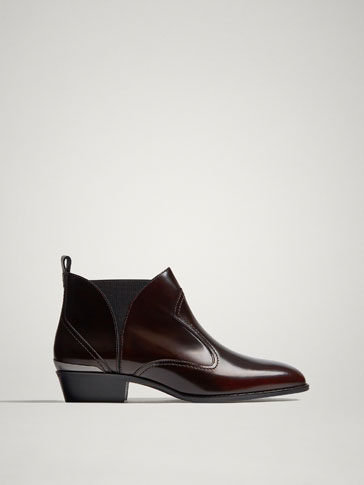 BOTTINES COWBOY CUIR VERNI BORDEAUX