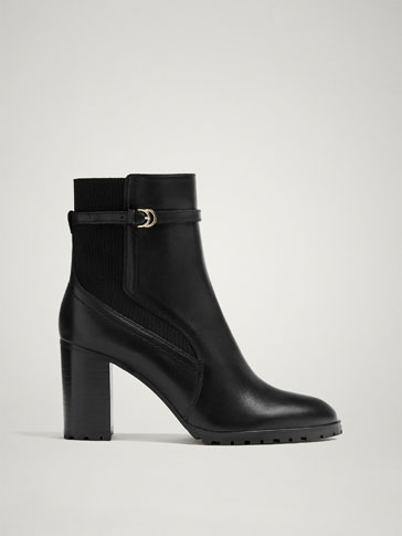 BLACK LEATHER ANKLE BOOTS WITH BUCKLE DETAIL