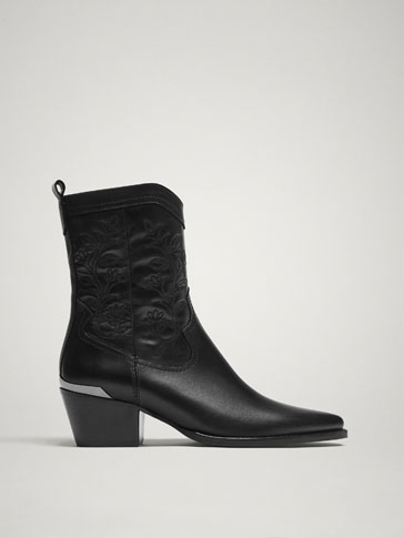 BOTTINES COWBOY CUIR NOIRES