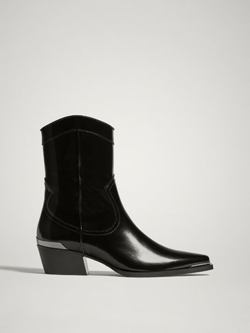 BLACK ANTIK LEATHER COWBOY ANKLE BOOTS