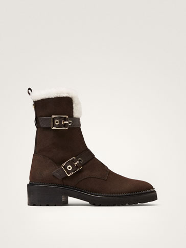 WINTER CAPSULE NUBUCK BUCKLED ANKLE BOOTS