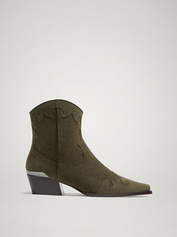 KHAKI SPLIT SUEDE LEATHER COWBOY ANKLE BOOTS
