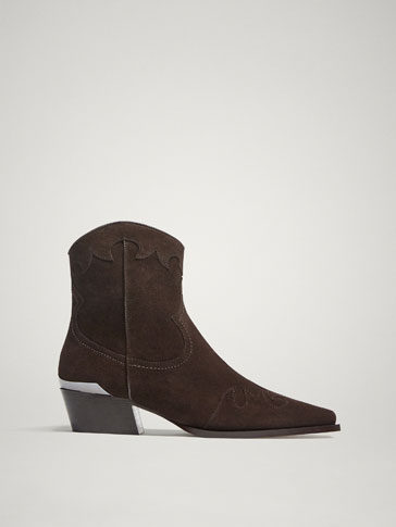 DARK BROWN SPLIT SUEDE LEATHER COWBOY ANKLE BOOTS