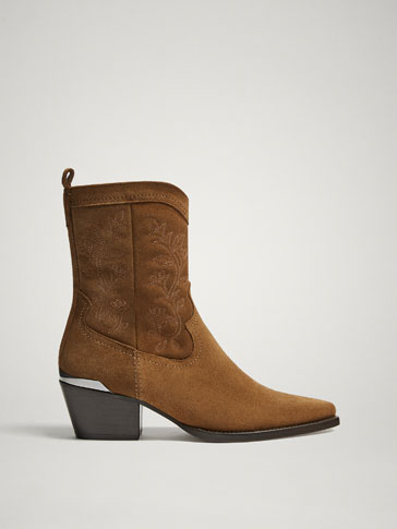 TAN SPLIT SUEDE LEATHER COWBOY ANKLE BOOTS