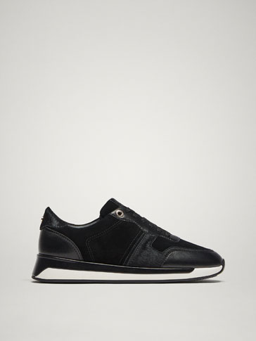 LINED BLACK LEATHER TRAINERS