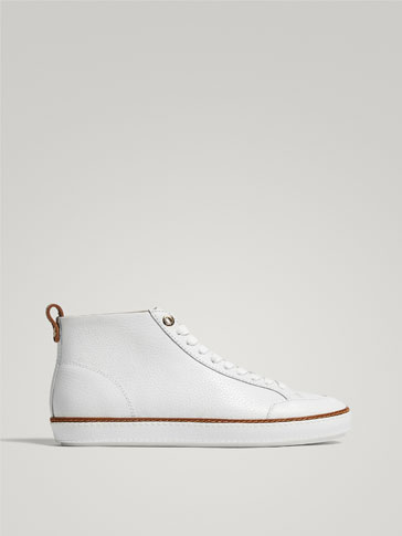WHITE LEATHER HIGH-TOP SNEAKERS