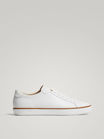WHITE TUMBLED LEATHER PLIMSOLLS