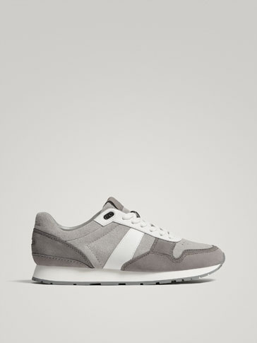 GREY COTRASTING LEATHER TRAINERS