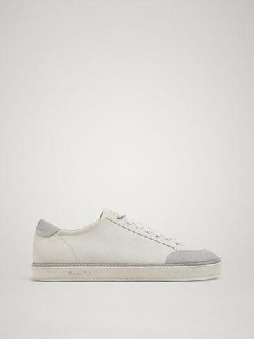 meet 10a42 70873 Shoptagr | Graue Sneaker Aus Rauleder by Massimo Dutti