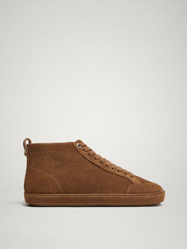 TAN SPLIT SUEDE HIGH-TOP TRAINERS