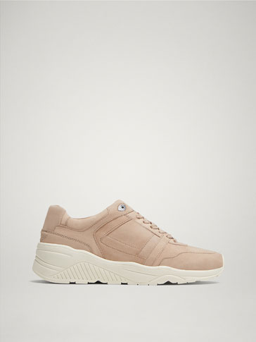 Nude Nubuck Trainers by Massimo Dutti
