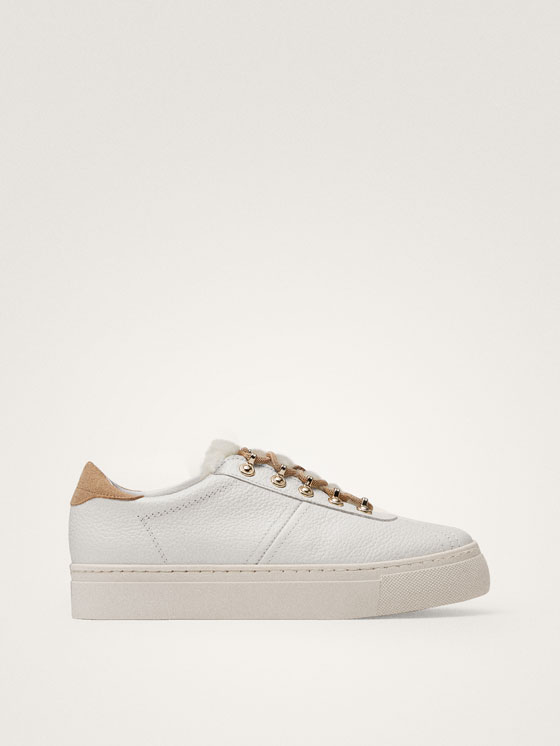 Massimo Dutti - TENNIS BLANCHES CUIR WINTER CAPSULE - 1