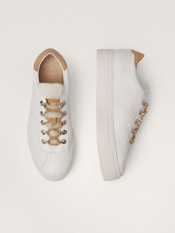 Massimo Dutti - TENNIS BLANCHES CUIR WINTER CAPSULE - 4