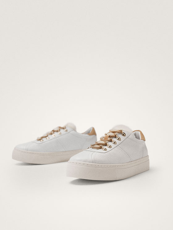 Massimo Dutti - TENNIS BLANCHES CUIR WINTER CAPSULE - 5
