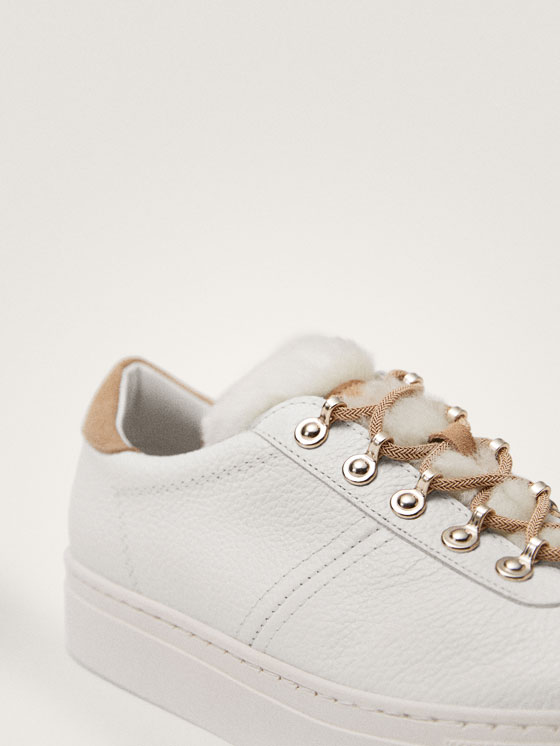 Massimo Dutti - TENNIS BLANCHES CUIR WINTER CAPSULE - 7