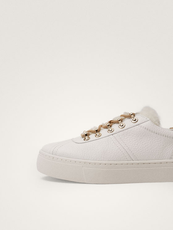 Massimo Dutti - TENNIS BLANCHES CUIR WINTER CAPSULE - 9