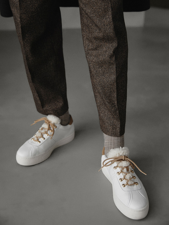 Massimo Dutti - TENNIS BLANCHES CUIR WINTER CAPSULE - 2