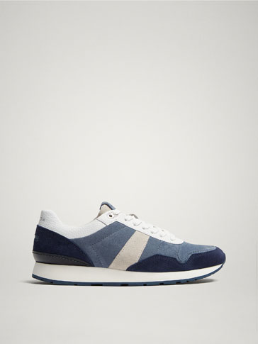 BLUE CONTRASTING LEATHER SNEAKERS
