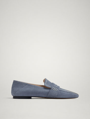 Blue Soft Split Suede Leather Loafers by Massimo Dutti