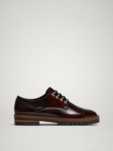 BURGUNDY LEATHER DERBY SHOES WITH GLOSSY FINISH