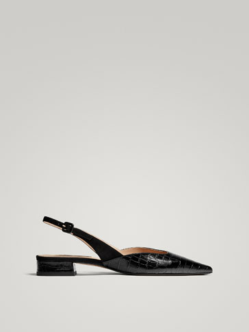 BLACK MOCK CROC LEATHER SLINGBACK BALLERINAS