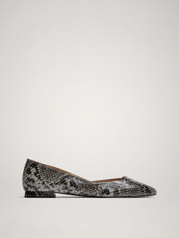 LEDERBALLERINAS MIT ANIMALPRINT IN GRAU