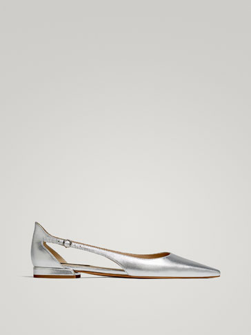SILVER LAMINATED LEATHER BALLERINAS