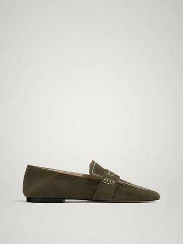 GREEN SOFT SPLIT SUEDE LEATHER LOAFERS