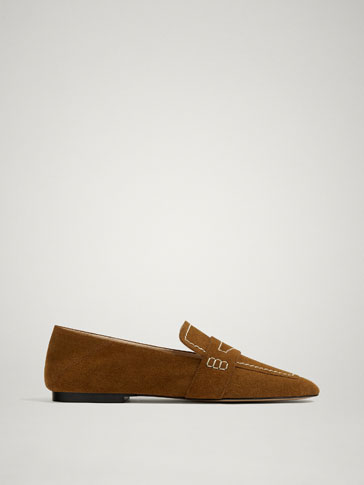 BROWN SOFT SPLIT SUEDE LEATHER LOAFERS