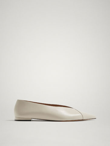 ECRU LEATHER BALLERINAS