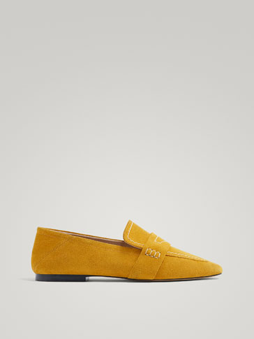 YELLOW SOFT SPLIT SUEDE LEATHER LOAFERS
