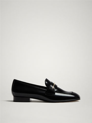 BLACK LEATHER LOAFERS WITH GLOSSY FINISH