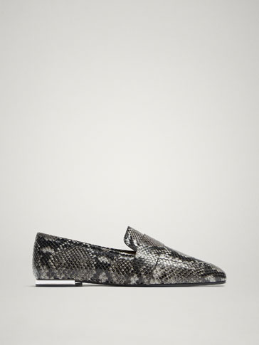 Mocassim De Pele Com Estampado Animal by Massimo Dutti