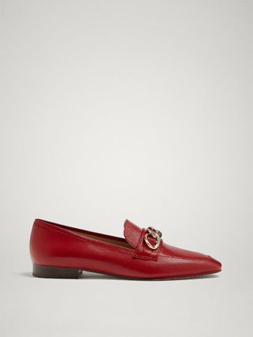 RED LEATHER LOAFERS WITH CHAIN
