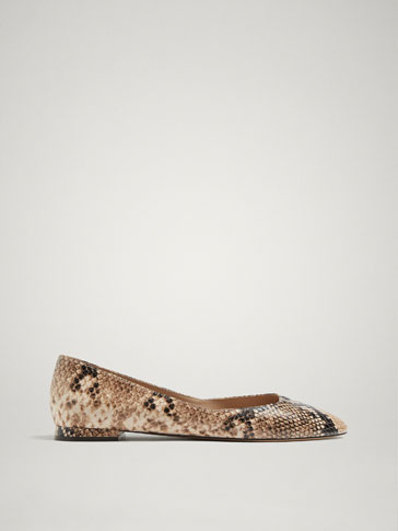 NATURAL SNAKESKIN PRINT LEATHER BALLERINAS